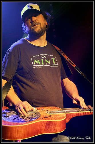 Anders Beck adds dobro to Greensky Bluegrass. Larry Sabo / Tahoe Onstage