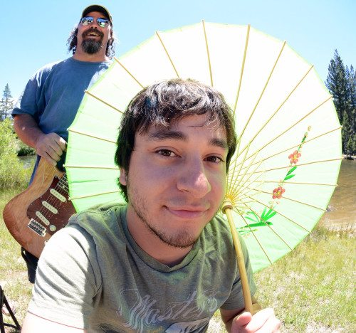Drummer Danny Barnes during the photo shoot was not a fan of a bright reflector but he was cool holding a Japanese sun umbrella.