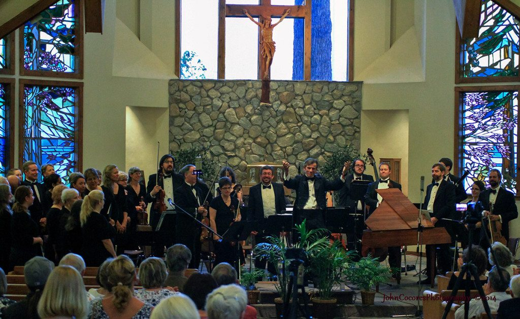 Toccata performed June 23 in St. Theresa Catholic Church in South Lake Tahoe. From left Brian Fox, violinist, Reno  Ondine Parker, violinist, South Lake Tahoe,  Josue Casillas, flutist from Puerto Rico, James Rawie, conductor, Incline Village,  Quinton Bunk, bass, Nick Haines, cello  and David Brock. harpsichord. Tahoe Onstage images by John C. Cocores