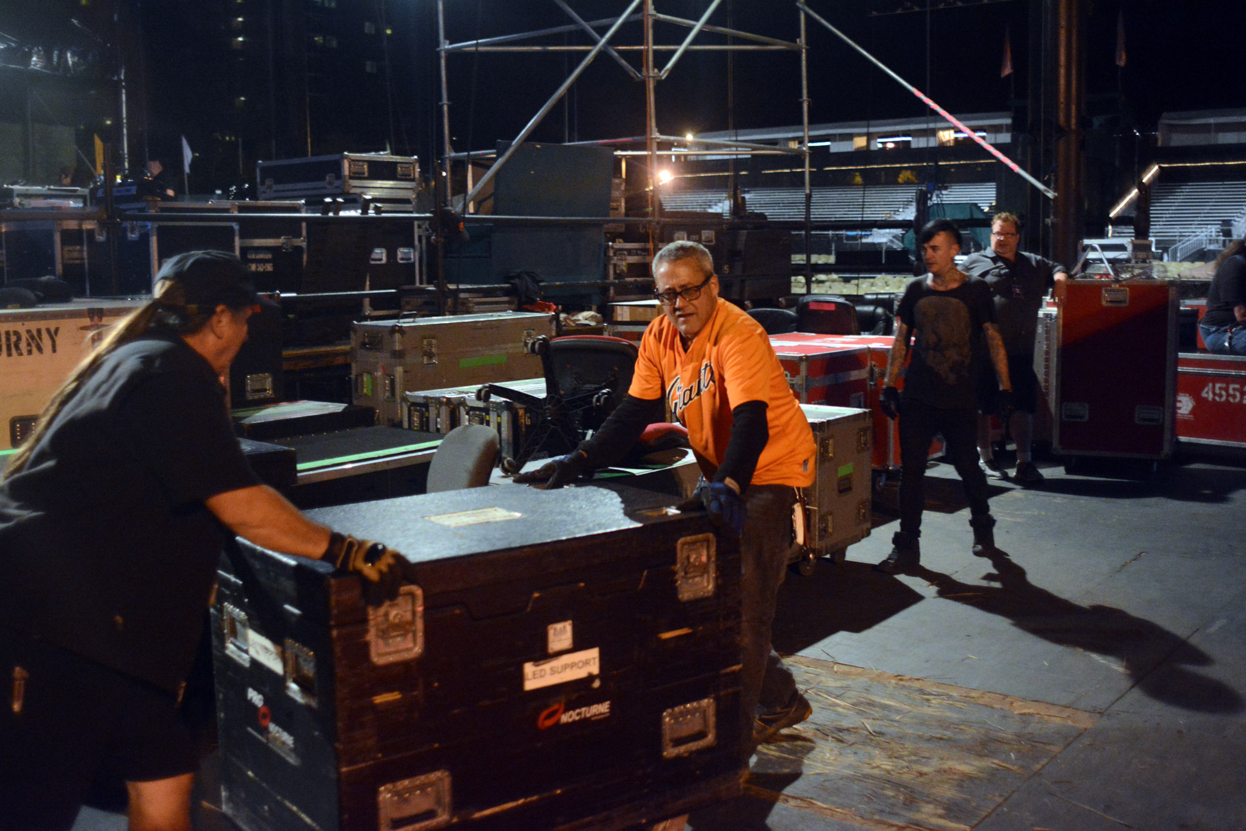 A.M. Fardella and crew break down the Harveys stage after Journey's 2013 concert. Photos by Tim Parsons / Tahoe Onstage