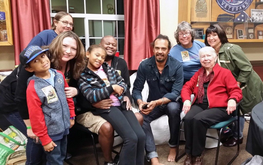 Michael Franti and family and friends backstage at Grass Valley