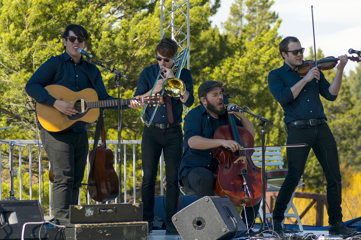 The Family Crest plays at Lake Tahoe Golf Course during Sierra-at-Tahoe's final Spring Equinox show of the season. From left, Liam McCormick, George Samaan, Charly Akert and Owen Sutter.