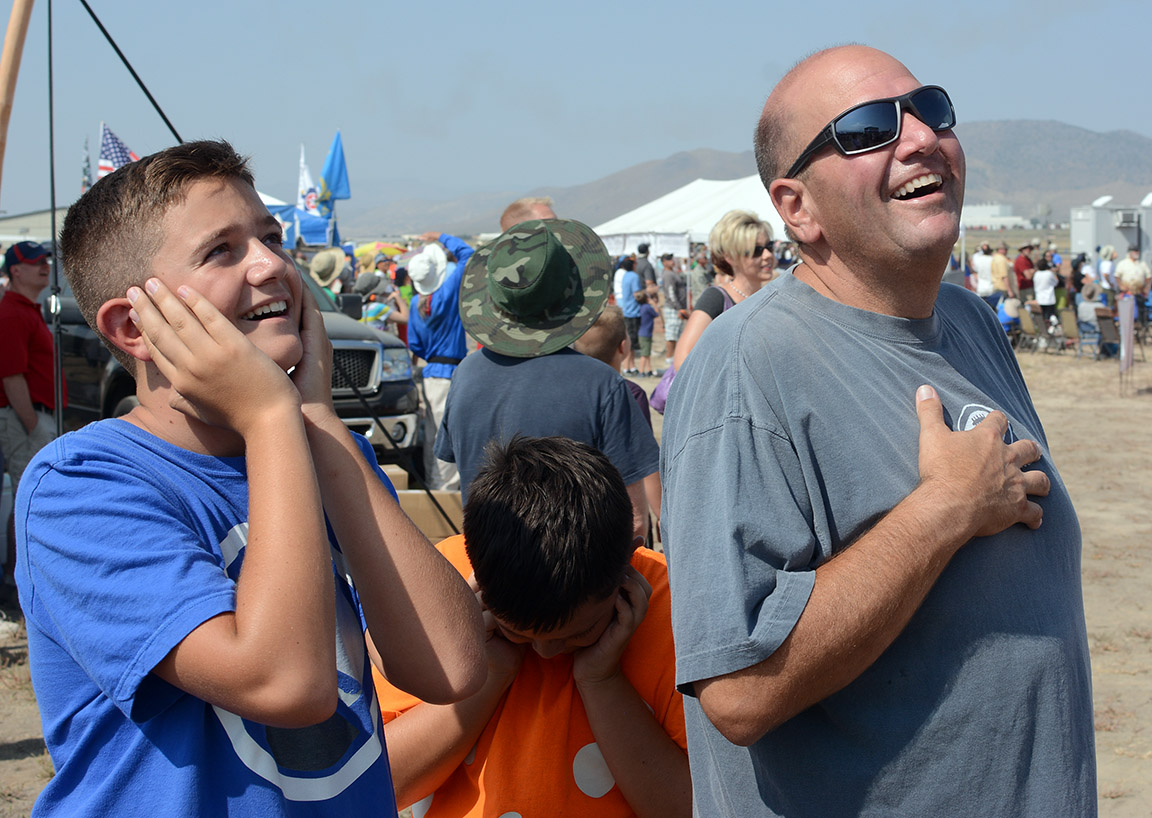 My goodness, my heart, my ears. Scott Shehadi and sons at the air show. Tim Parsons/ Tahoe Onstage