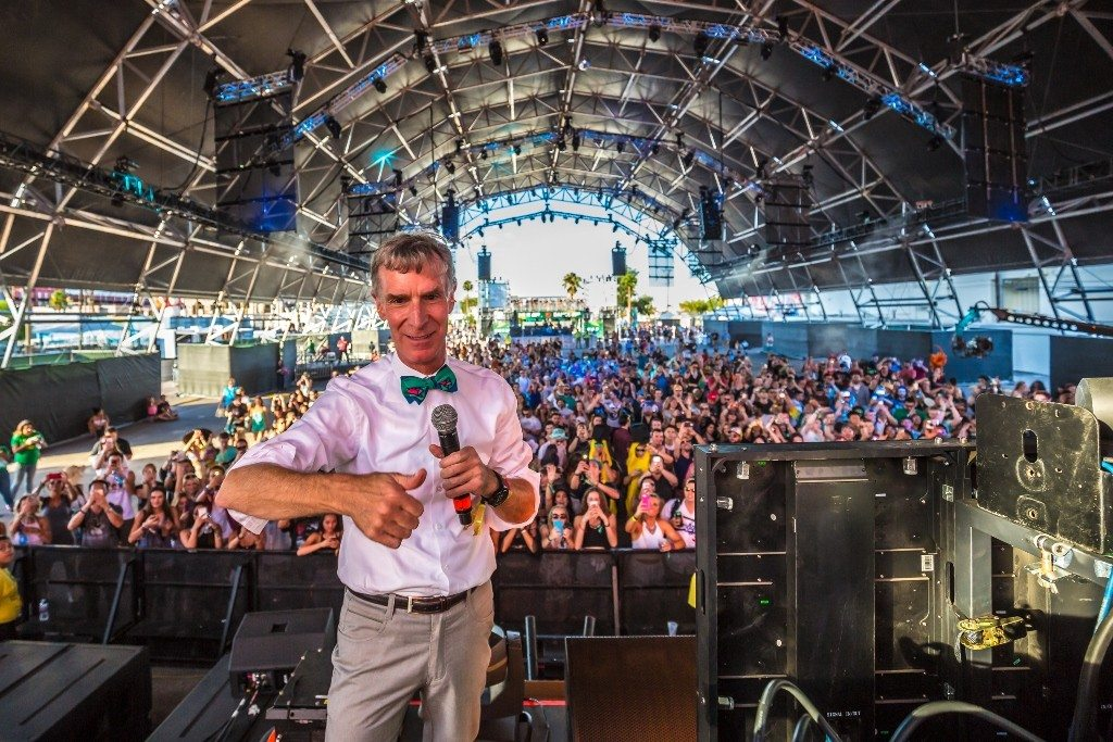Bill Nye the Science Guy joined electronic house DJ, Discovery Project, on the Troubadour Stage, the debut tent at this year's festival.