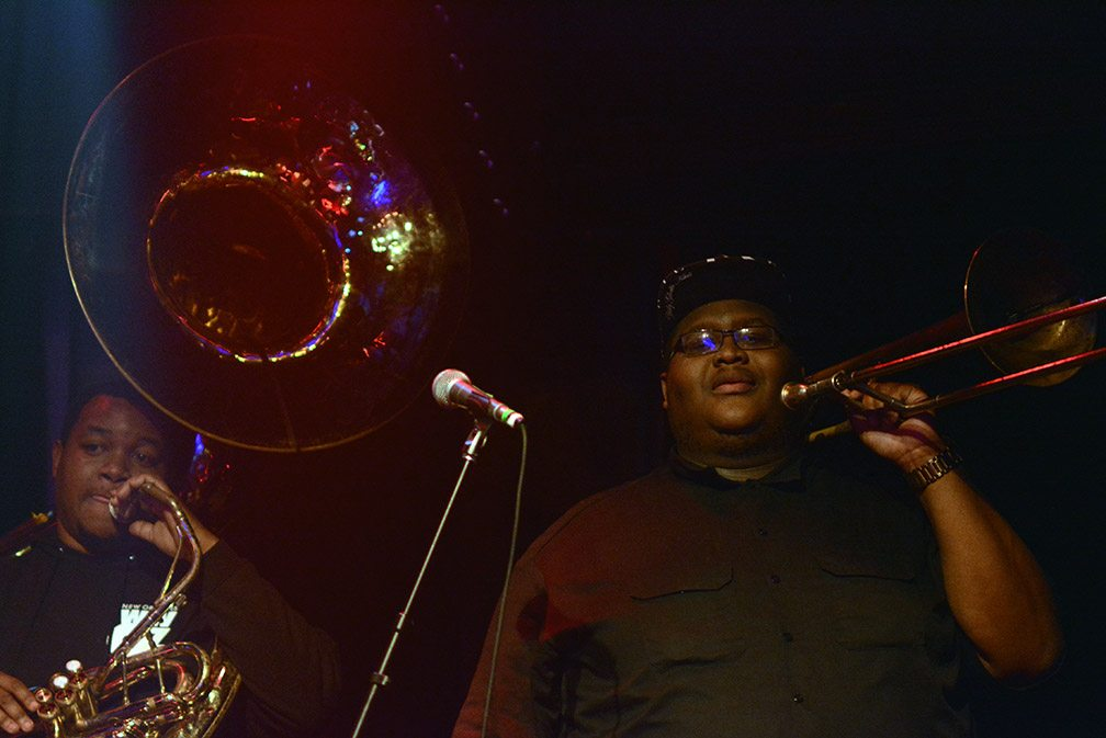 Edward Lee, Sousaphone and Paul Robertson, trombone, of the Soul Rebels. Tim Parsons / Tahoe Onstage