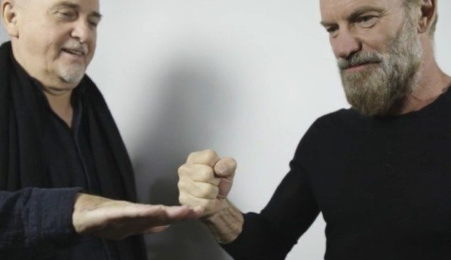"""Peter Gabriel, left, and Sting announced their """"Rock Paper Scissors"""" tour today."""