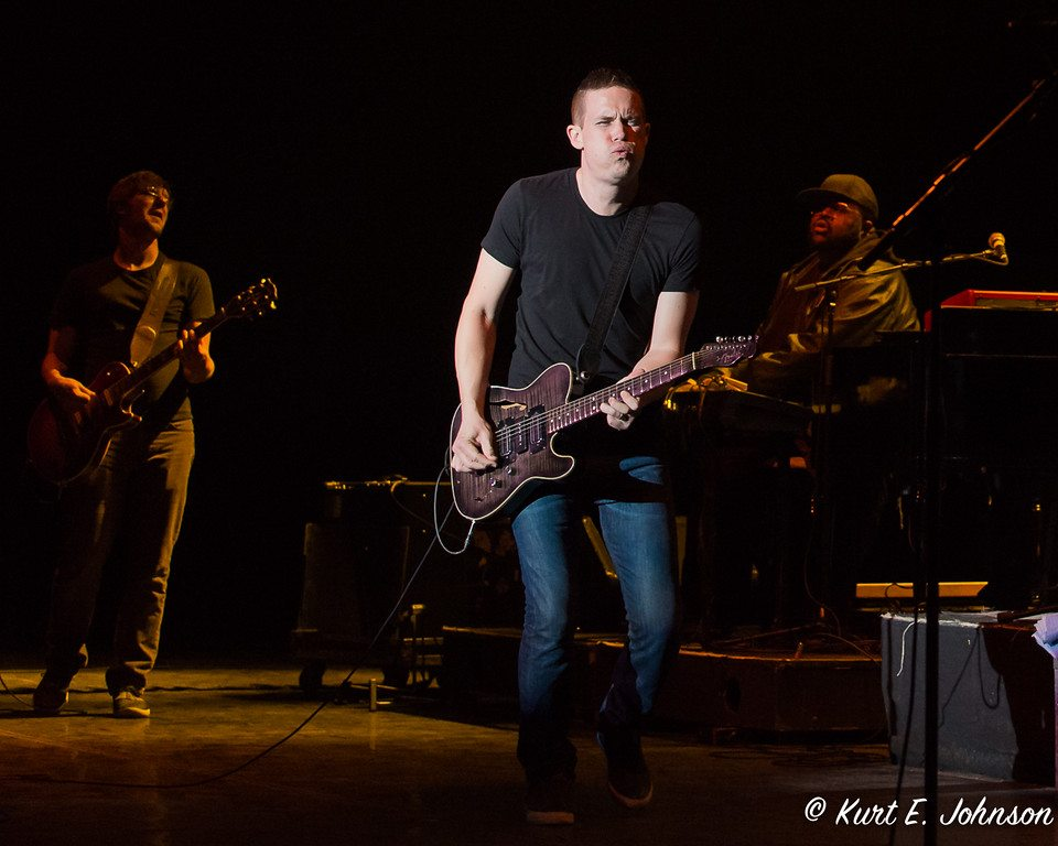 Jonny Lang is flanked by Clark Clement, left, and Charles Jones during a spiritually uplifting performance Feb. 13, in the MontBleu Theatre in Stateline. Tahoe Onstage images by Kurt E. Johnson