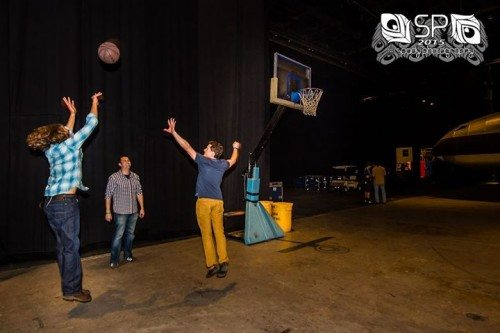 Backstage at the Grand Sierra, Keith Moseley's proper shooting technique ensures the basketball will pass through the strings. Photo by Brian Spady/The String Cheese Incident 2015.