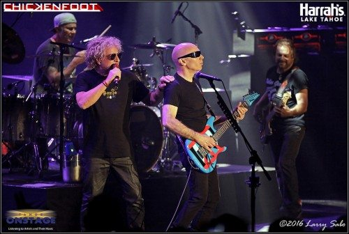 Onstage for the first time since 2010, Chad Smith, left, Joe Satriani, Sammy Hagar and Michael Anthony -- Chickenfoot -- rock the South Shore Room. Tahoe Onstage images by Larry Sabo