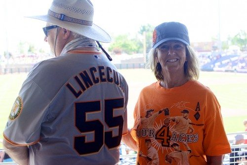 Sparks residents Michael and Mary Day were in the Angels stadium when they learned Tim Lincecum was going to pitch in Reno.