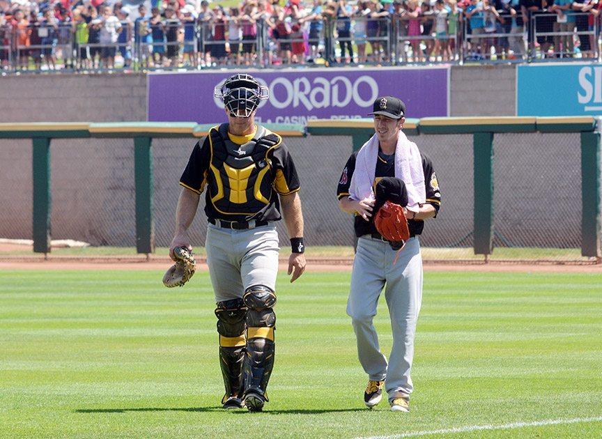 The Bees battery: Erik Kratz and Tim Lincecum. Tim Parsons