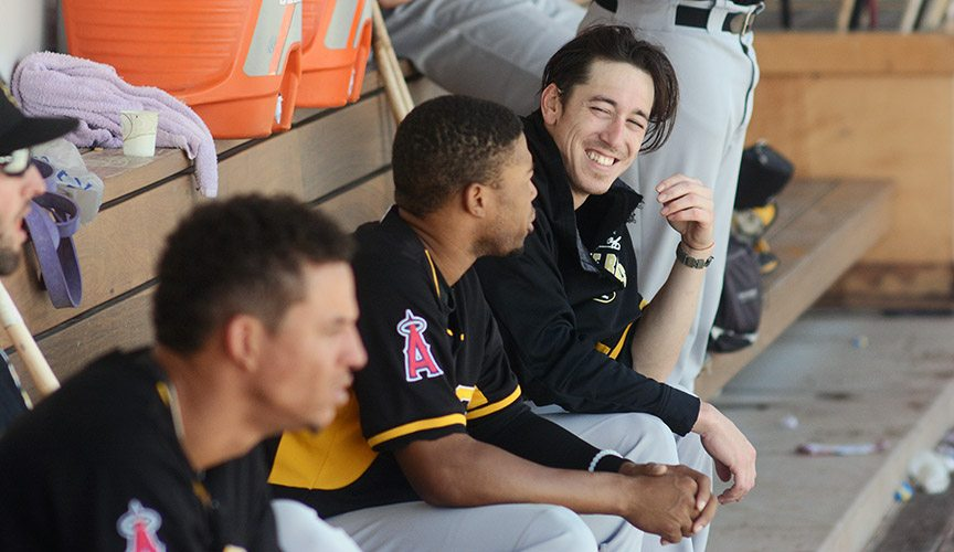 "Lincecum chats with Bees left fielder Sherman Johnson in the dugout. ""It's refreshing, to say the least, because it's a different style of baseball that's being played down here,"" Lincecum said after the game. ""I think it's a lot more heartfelt, so you feel that in the dugout."""