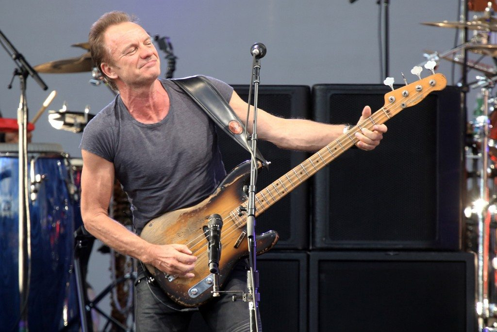 Sting and his 1957 Fender Precision bass guitar. Photos by Jim Grant / Harveys Lake Tahoe