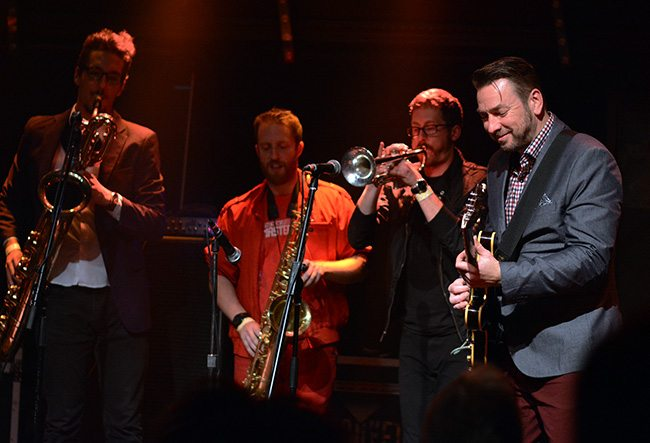 Eddie Roberts welcomes the Turkuaz horns to the stage. Tahoe Onstage photo by Tim Parsons