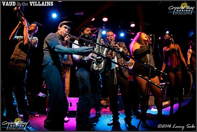 Vaud and the Villains fill the Crown Room stage during one of the shows of the year. Tahoe Onstage images by Larry Sabo