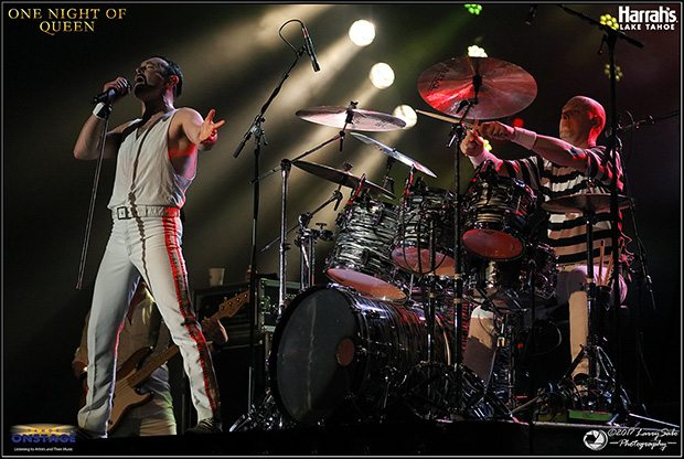 Gary Mullen and drummer Jon Halliwel will rock you. A packed Harrah's Lake Tahoe South Shore Room cheers One Night of Queen, a tribute to the intricate and fast-paced music of one of rock's all-time greatest bands. Tahoe Onstage photos by Larry Sabo