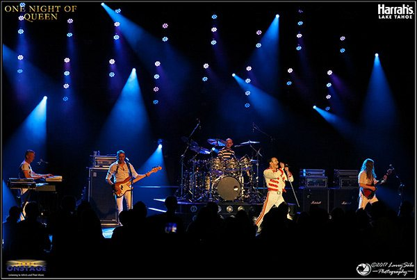 A packed Harrah's Lake Tahoe South Shore Room cheers One Night of Queen, a tribute to the intricate and fast-paced music of one of rock's all-time greatest bands. Tahoe Onstage photos by Larry Sabo