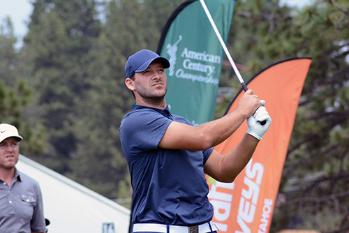 0a62ab598865 Tony Romo watches his drive on 17 during the opening round. Carson Palmer  is at right. Tim Parsons   Tahoe Onstage