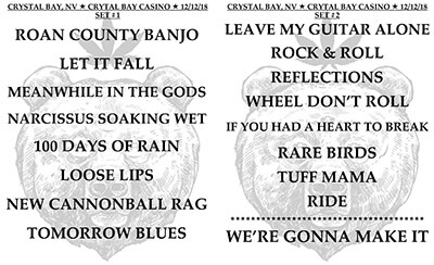CRB Set List