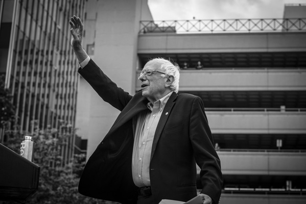 Vermont Senator Bernie Sanders greets crowd in Reno, Nevada.