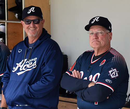Manager Chris Cron, left, and coach and former Aces manager Greg Gross, right, were members of the Aces coaching staff last season. Tim Parsons/ Tahoe Onstage file photos