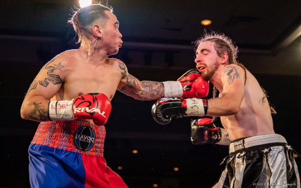 Kenny Davis Jr. lands a left to the chin of Philip Schwartz at the Silver Legacy in Reno on Oct. 25, 2019. Michael Smyth / Tahoe Onstage