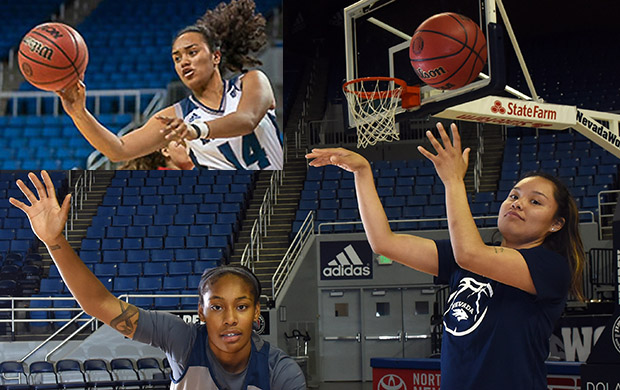 Junior guards Mik'ala Maio (top left), Laprisiah Johnson (bottom left) and Jacqulynn Nakai (right) have given the Wolf Pack an experienced force.  Tim Parsons/ Tahoe Onstage photos