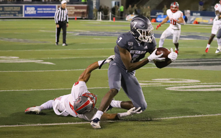 Romeo Doubs' career-high 167 receiving yards led Nevada to victory on Saturday.  Shaun Astor/ Tahoe Onstage photos