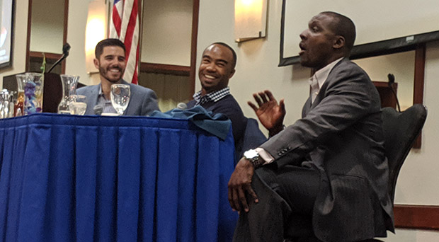 New Aces broadcaster Zack Bayrouty, left, farm director Josh Barfield and keynote spaker Orlando Hudson share a laugh Monday at the Aces Hot Stove Luncheon at the Silver Legacy. Isaiah Burrows / Tahoe Onstage
