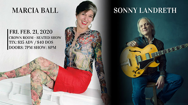 Superstarts share the stage Frday at Crystal Bay Casino: Marcia Ball and Sonny Landreth.