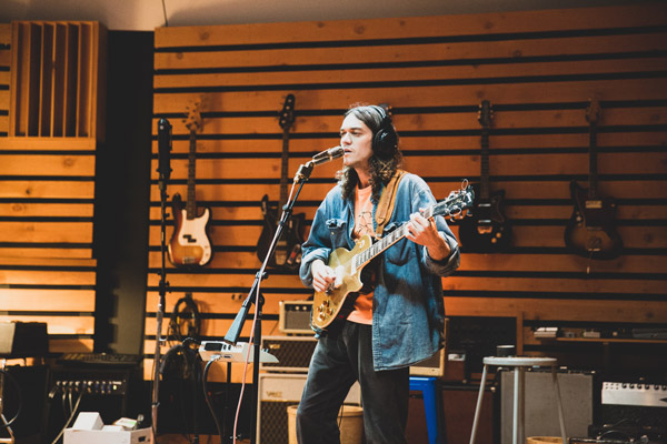 "Photos by Kelsey Doyle of Pacific Range in the recording studio for ""High Upon The Mountain."""