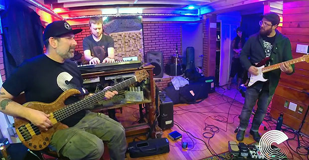 Philadelphia psychadelic funk band Star Kitchen plays in the Color Red studio. From left are Marc Brownstein, Rob Marcher and Danny Mayer.