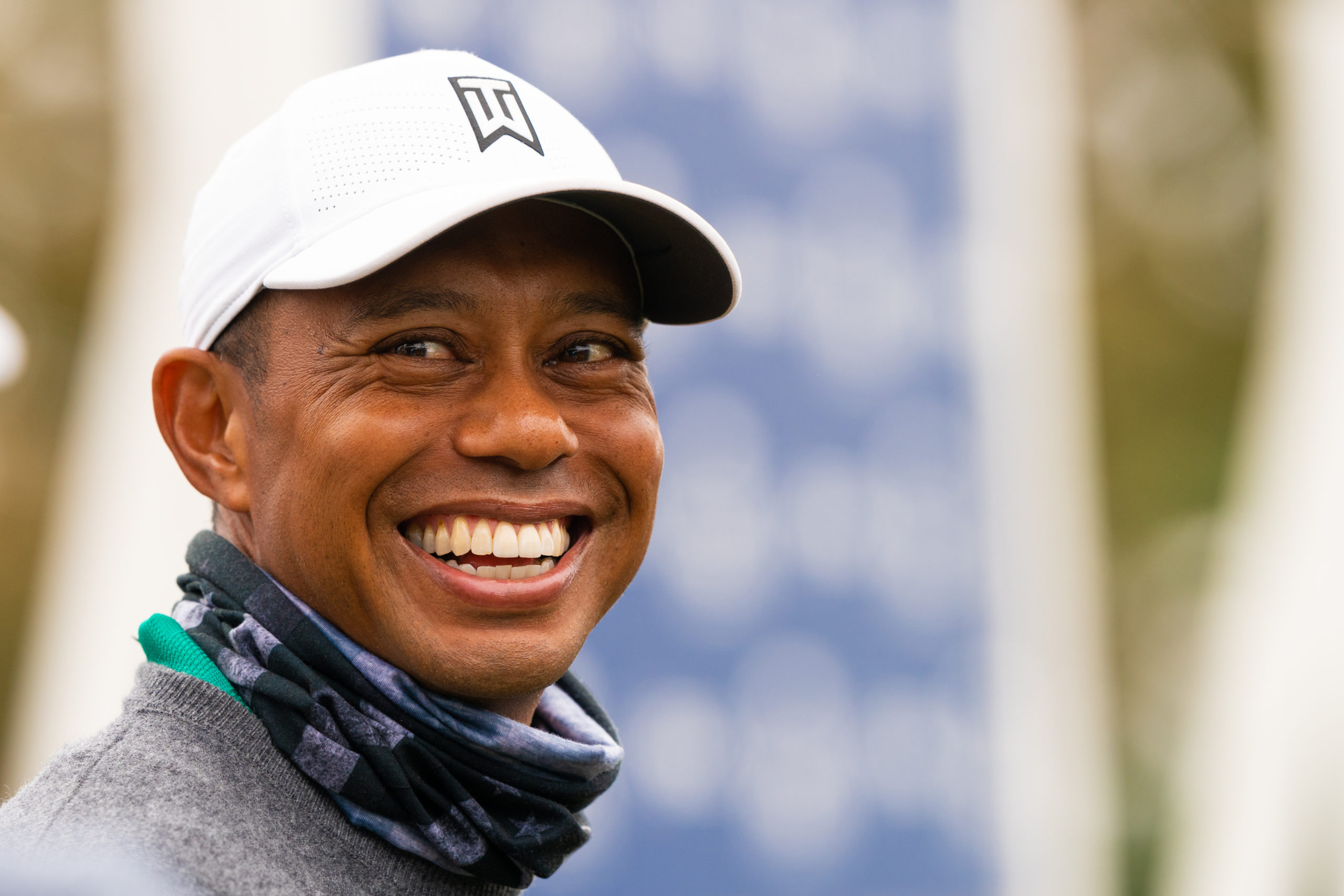 SAN FRANCISCO, CA - AUGUST 4: Tiger Woods speaks at the Quickie Quote Area during a practice round of the 102nd PGA Championship at TPC Harding Park on August 4, 2020 in San Francisco, California. (Photo by Darren Carroll/PGA of America)