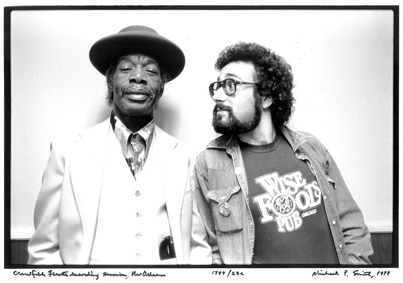 Bruce Iglauer and Professor Longhair pose for a photograph during the making of