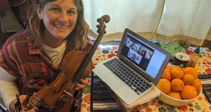 From the stage to a laptop: Jenni Charles teaches music online.